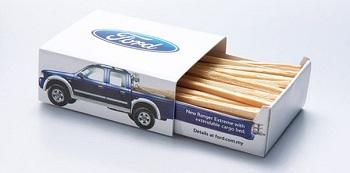 реклама на спичках бренда FORD