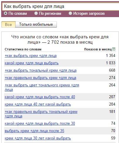 сбор ключевых запросов на яндекс.вордстат